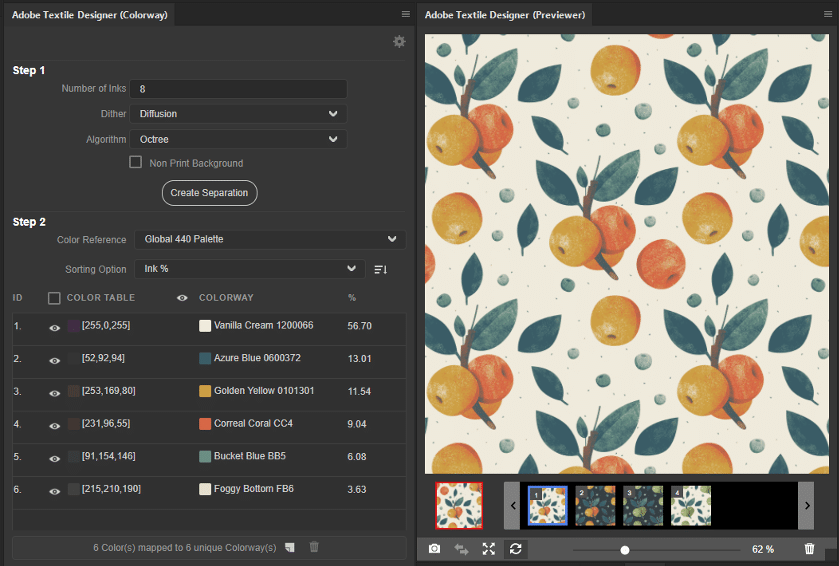 In this screenshot, we see that the designer has specified their color reference library
